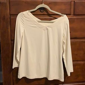 Doncaster 3/4 sleeve cream colored shirt.